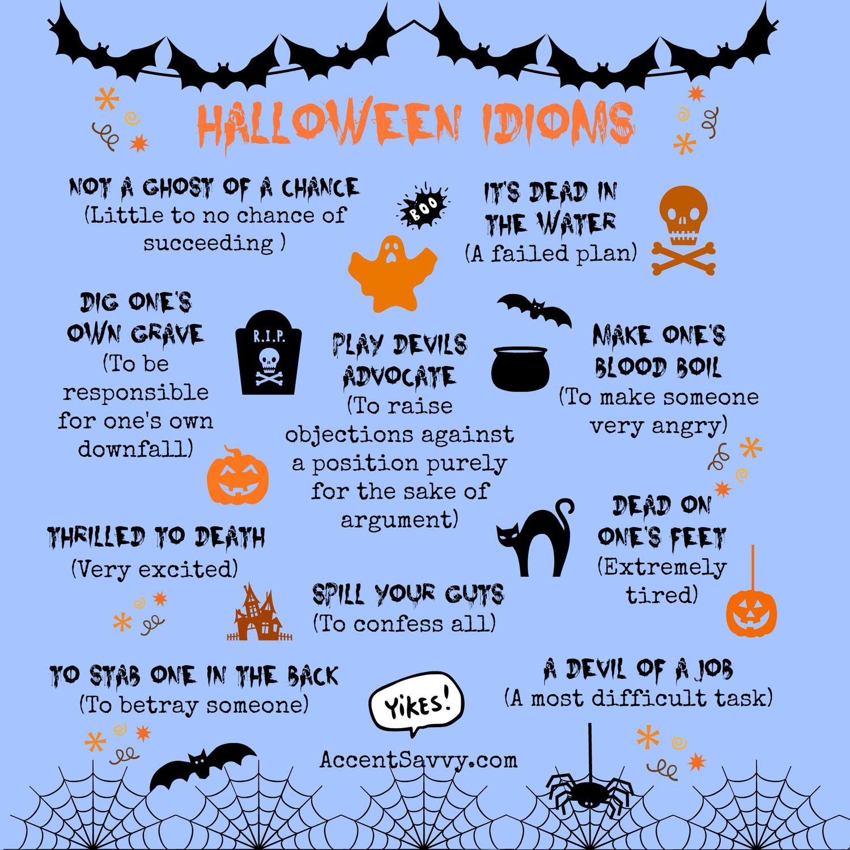 Halloween Idioms | Idioms, Halloween Vocabulary, Halloween