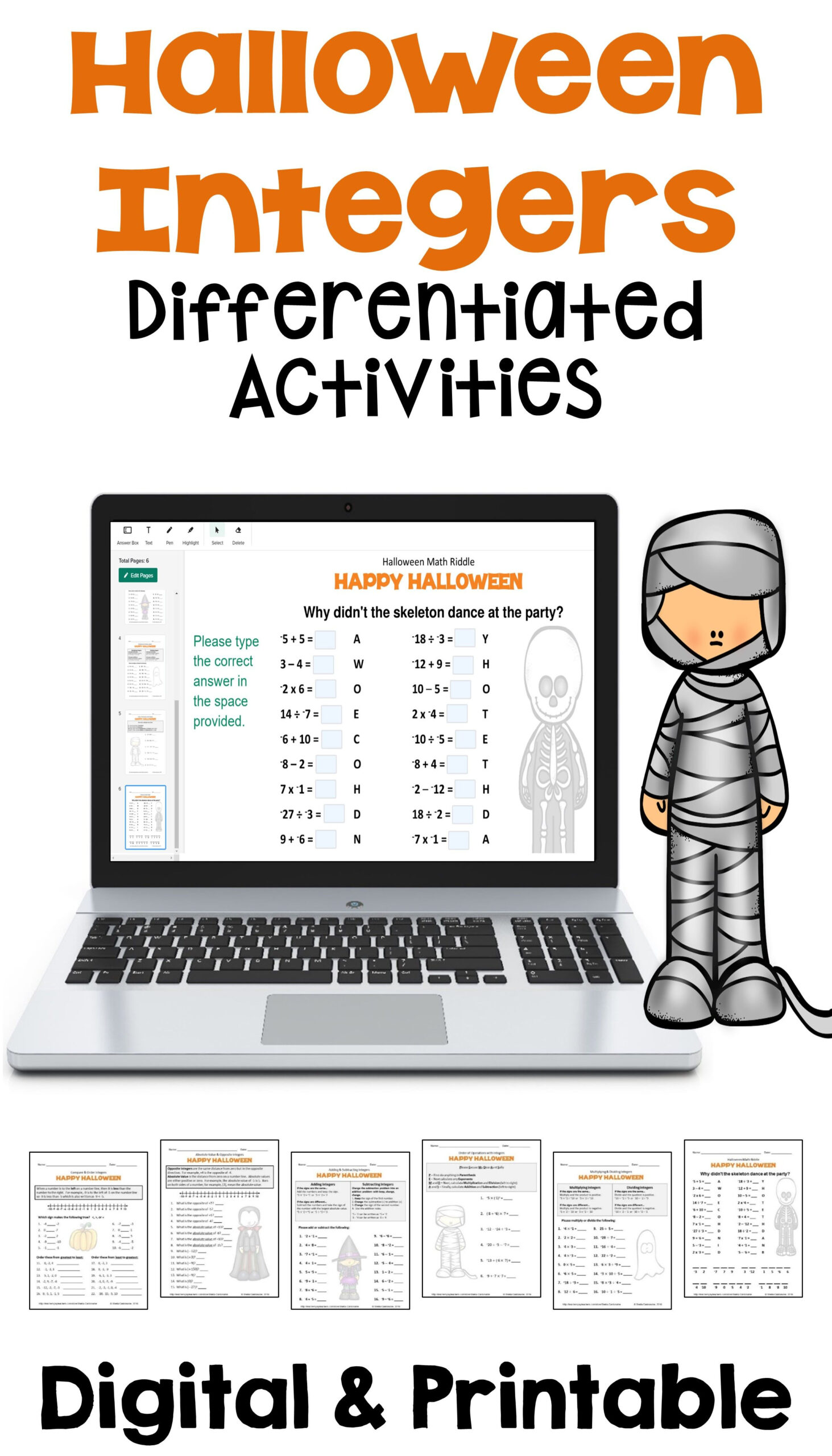 Halloween Integers Differentiated Activities With Digital