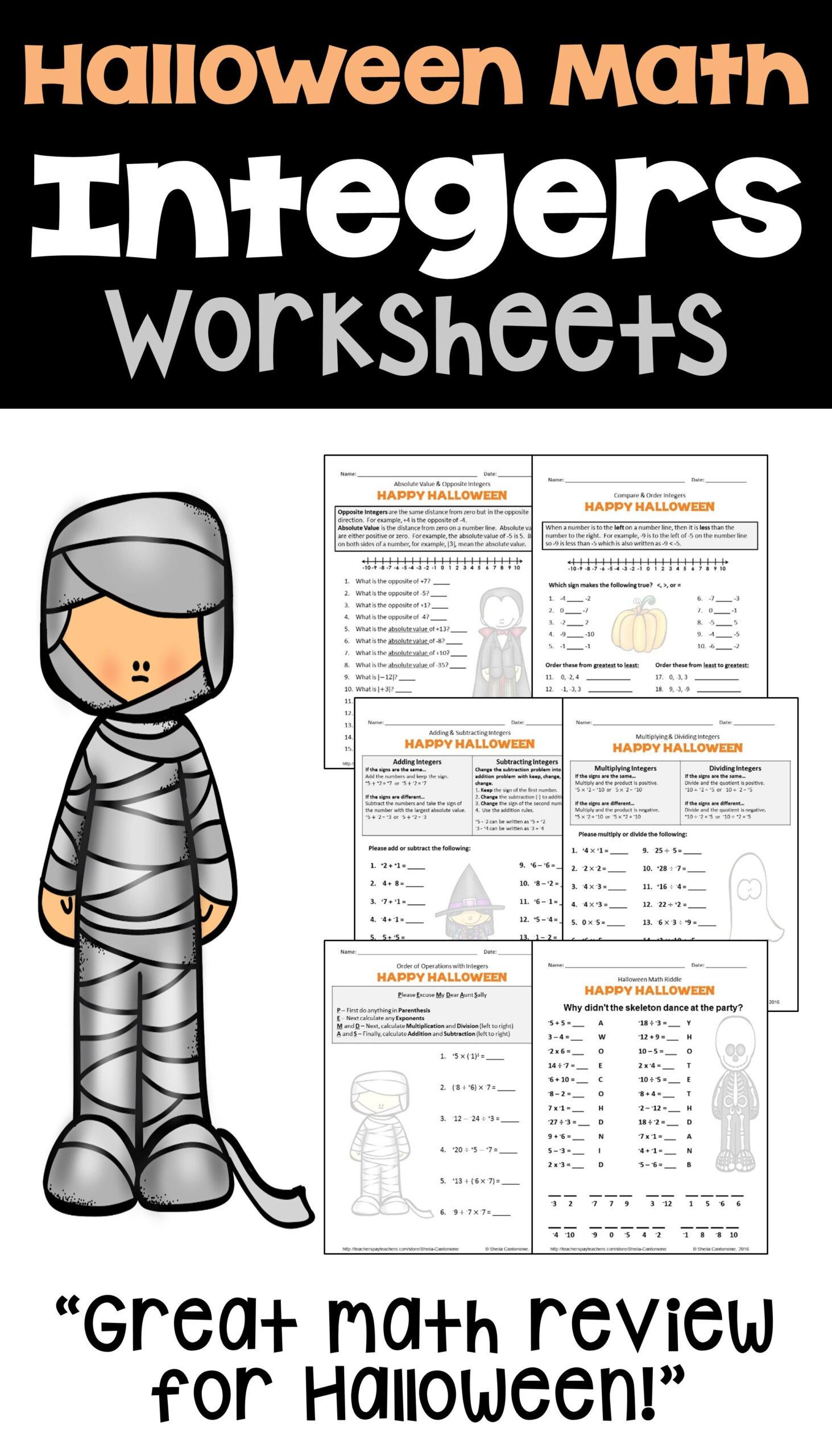 Halloween Integers Worksheets   Halloween Math Worksheets