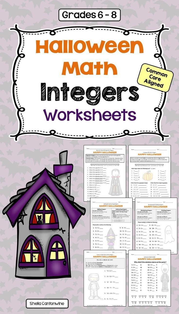 Halloween Integers Worksheets   Integers Worksheet, Integers