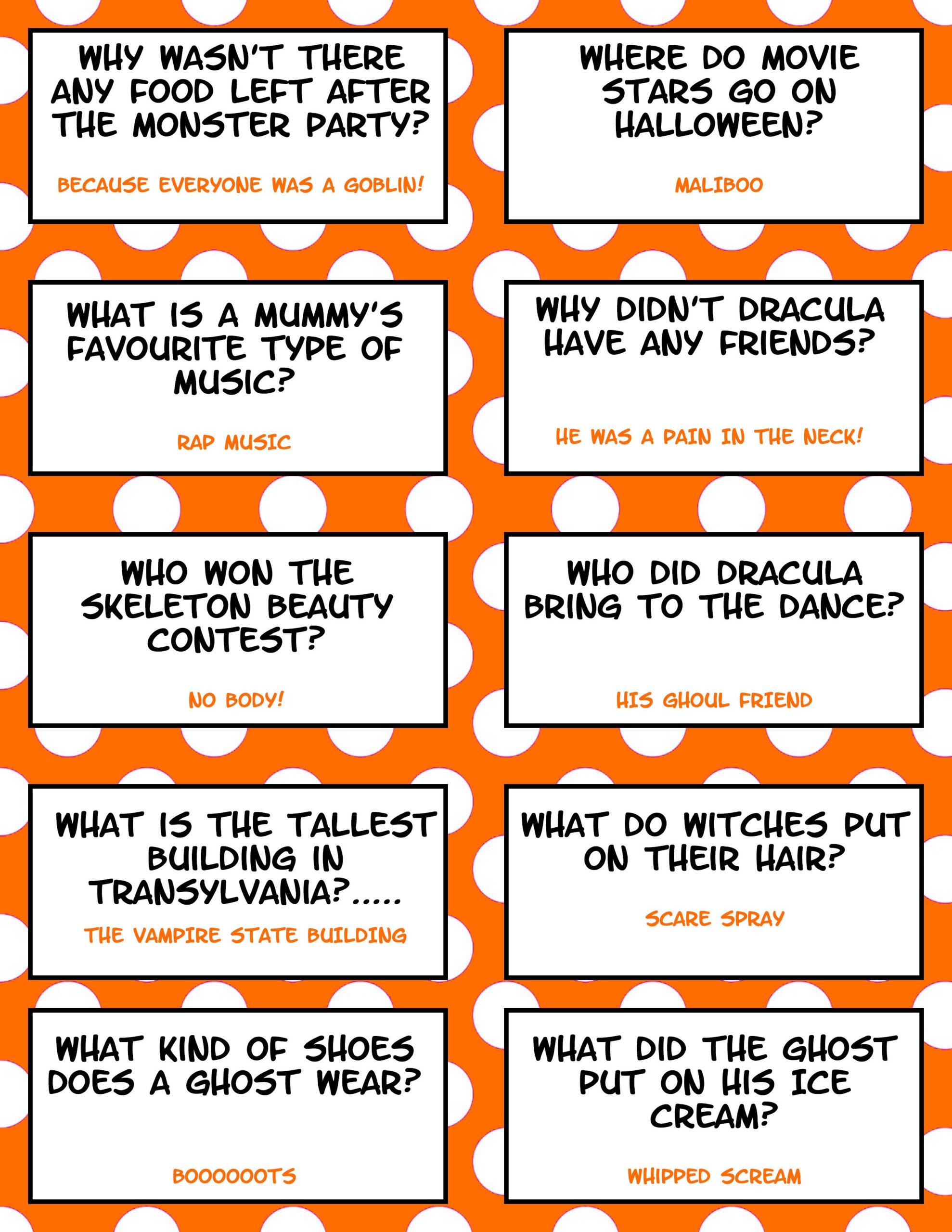 Halloween Jokes - Free Printable | Halloween Jokes
