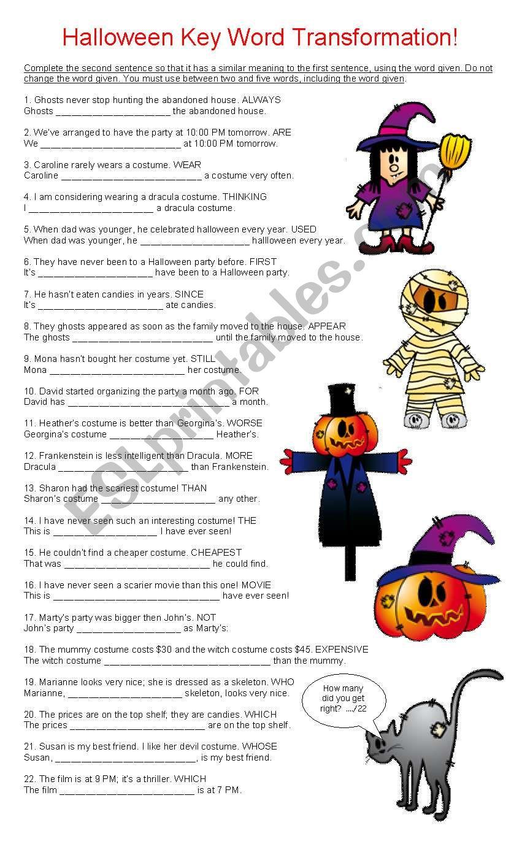 Halloween Key Word Transformation - Esl Worksheetcyn.