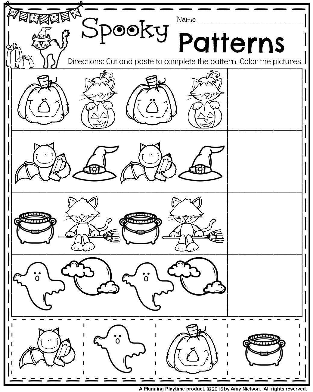 Halloween Kinder Worksheets Preschool Pattern Worksheets For