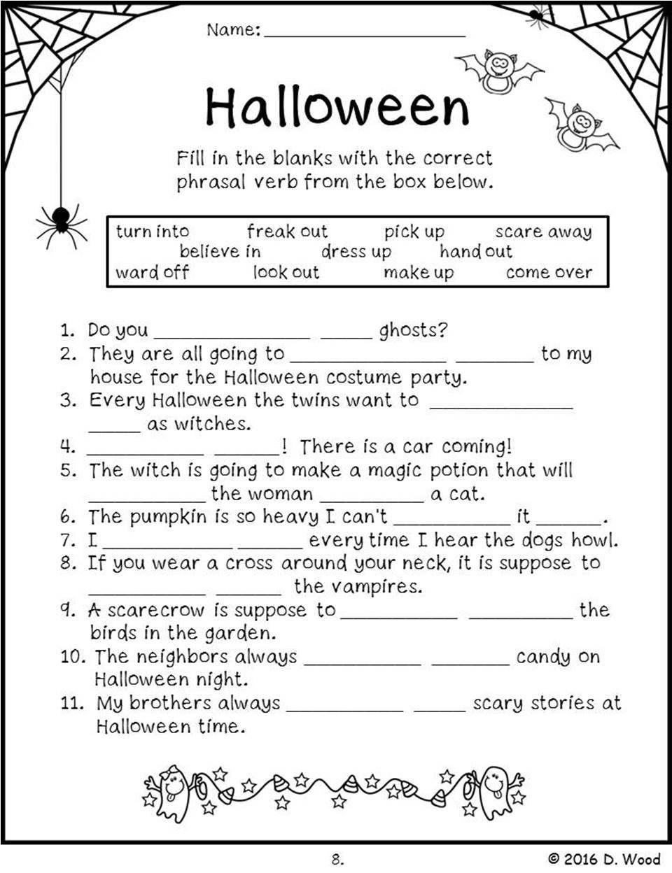 Halloween Language Arts Worksheets Halloween Reading In 2020
