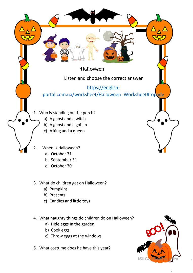 Halloween Listening Comprehension English Esl Worksheets For