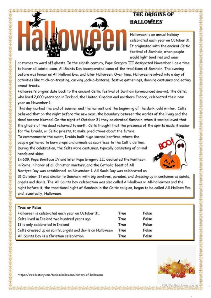 Halloween Literacy Worksheets Halloween English Esl