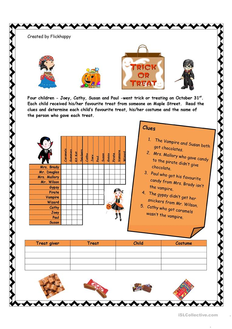 Halloween Logic Puzzle - English Esl Worksheets For Distance