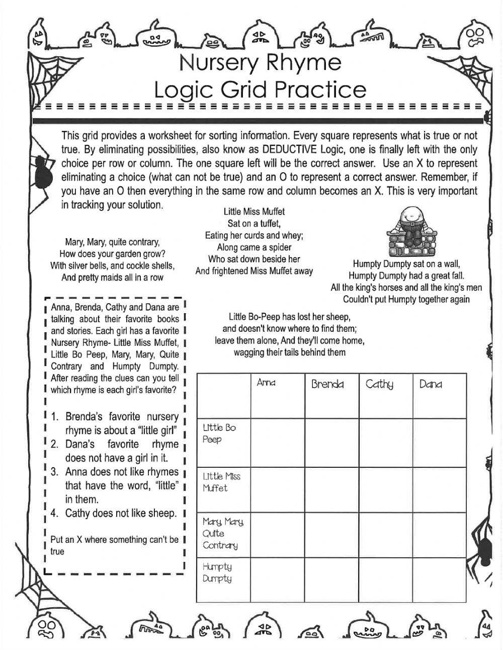 Halloween Logic Puzzles Worksheet