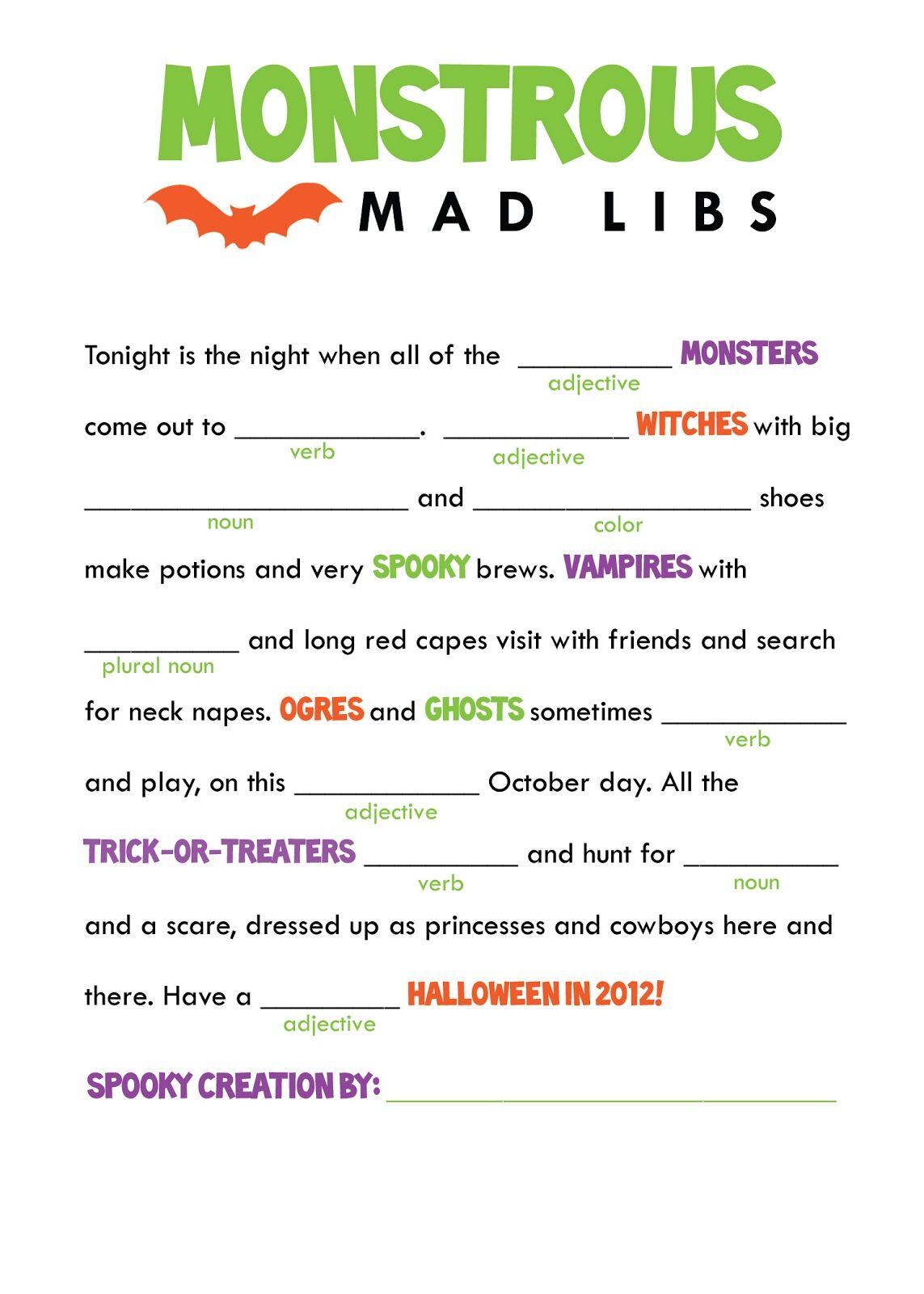 Halloween Mad Libs. | Halloween Class Party, Halloween