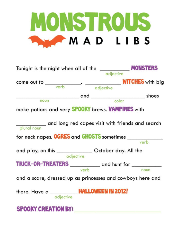 Halloween Mad Libs. | Halloween Worksheets, Halloween Class
