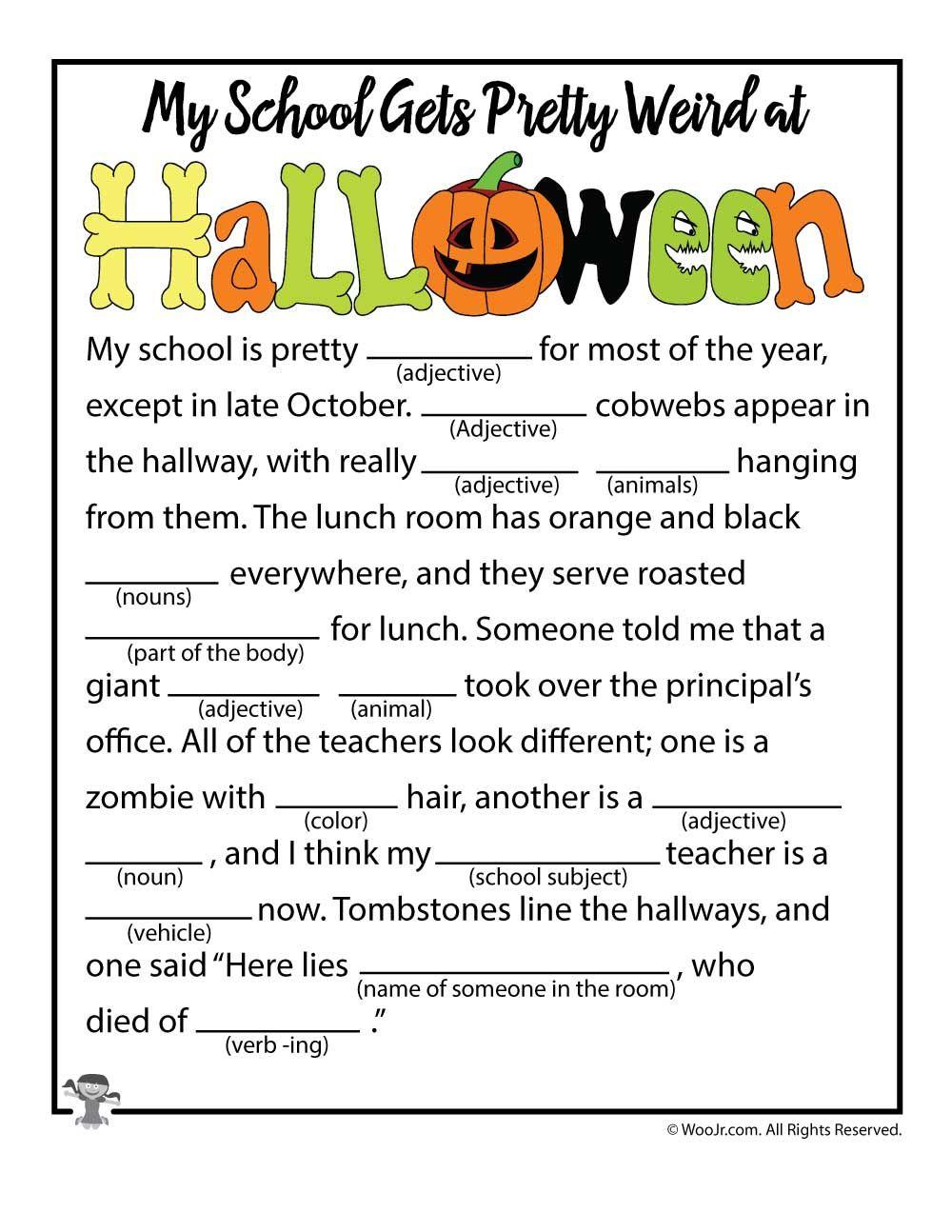 Halloween Mad Libs   Woo! Jr. Kids Activities   Halloween