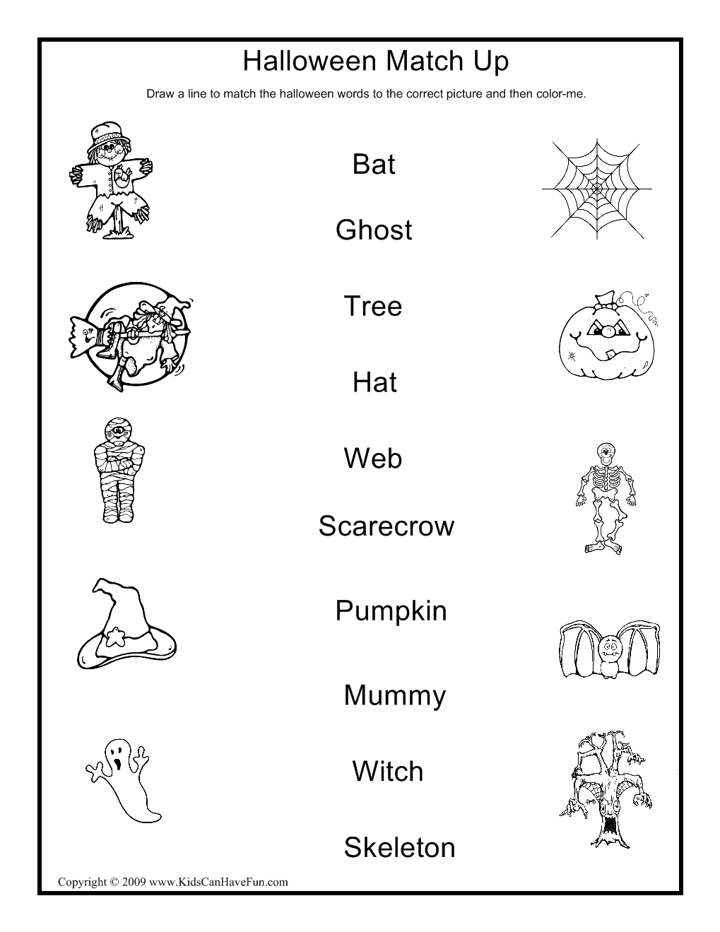 Halloween Match Up Activity   English Worksheets For Kids