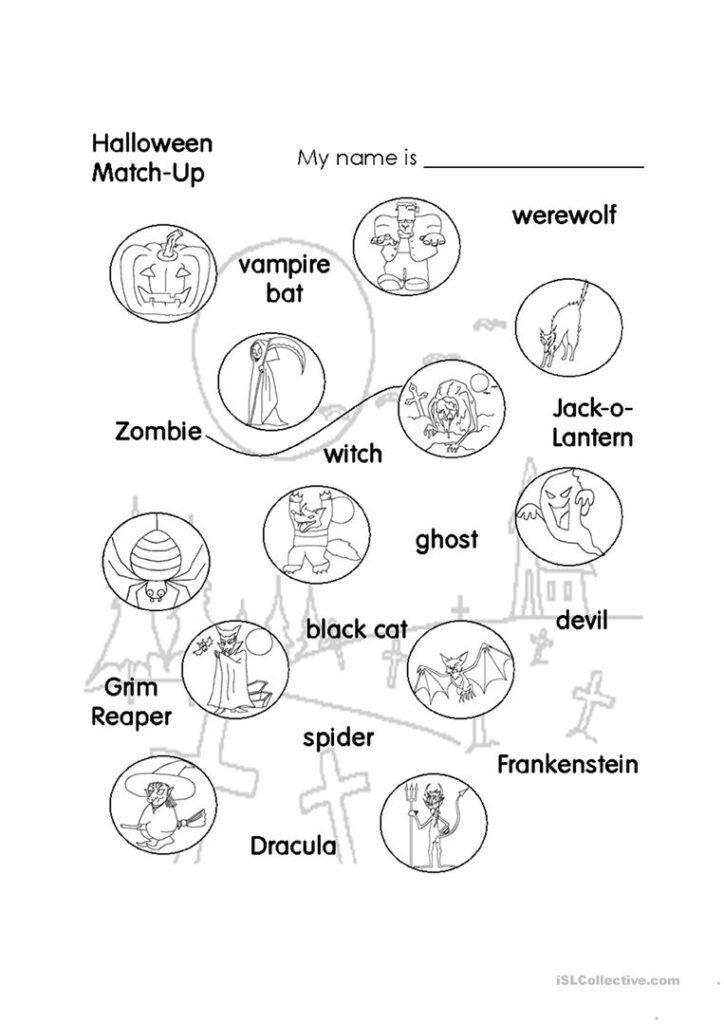 Halloween Match Up   Kids   English Esl Worksheets For