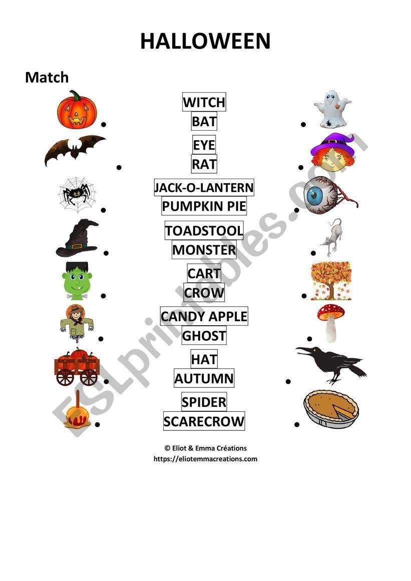 Halloween - Matching Activity - Esl Worksheet
