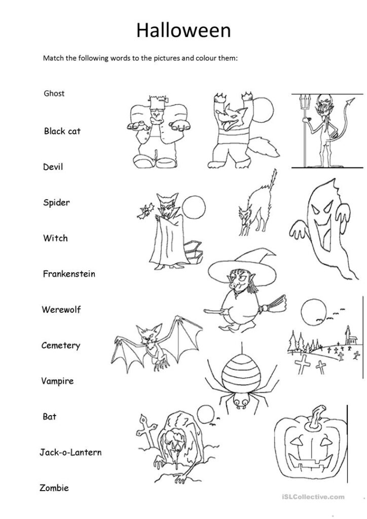 Halloween Matching And Colouring   English Esl Worksheets