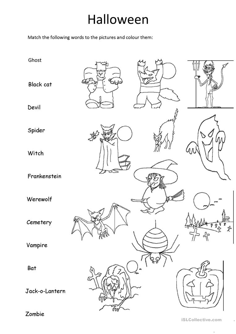 Halloween Matching And Colouring - English Esl Worksheets