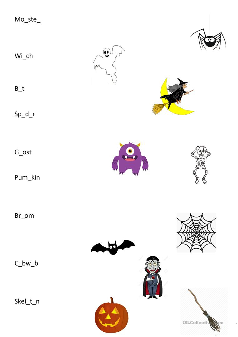 Halloween Matching Words - English Esl Worksheets For