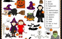 Halloween Vocabulary Matching Worksheet
