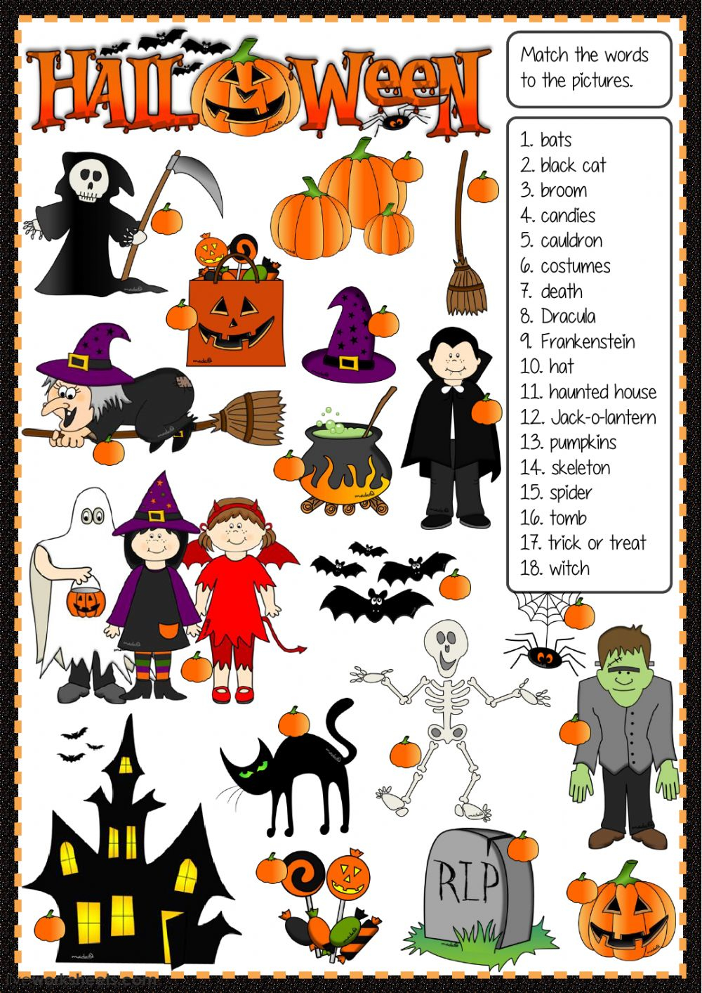 Halloween - Matching Worksheet