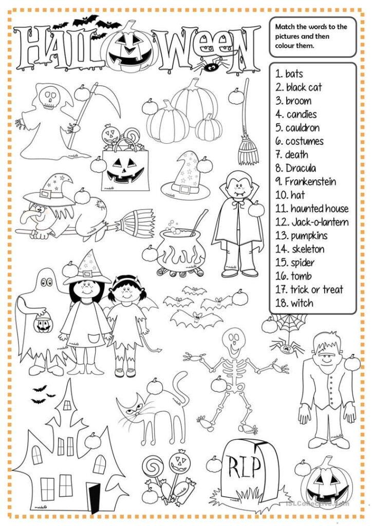 Halloween   Matching Worksheet   Free Esl Printable