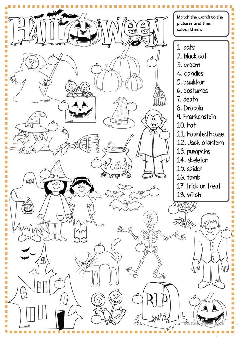 Halloween - Matching Worksheet - Free Esl Printable