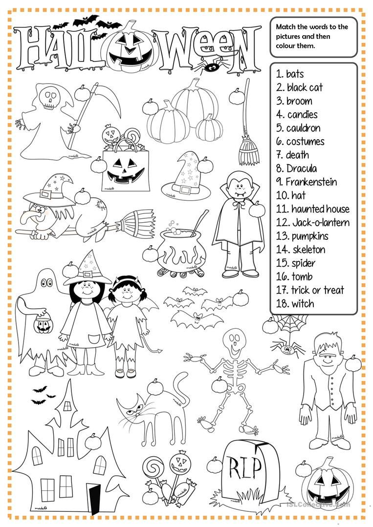 Halloween - Matching Worksheet - Free Esl Printable