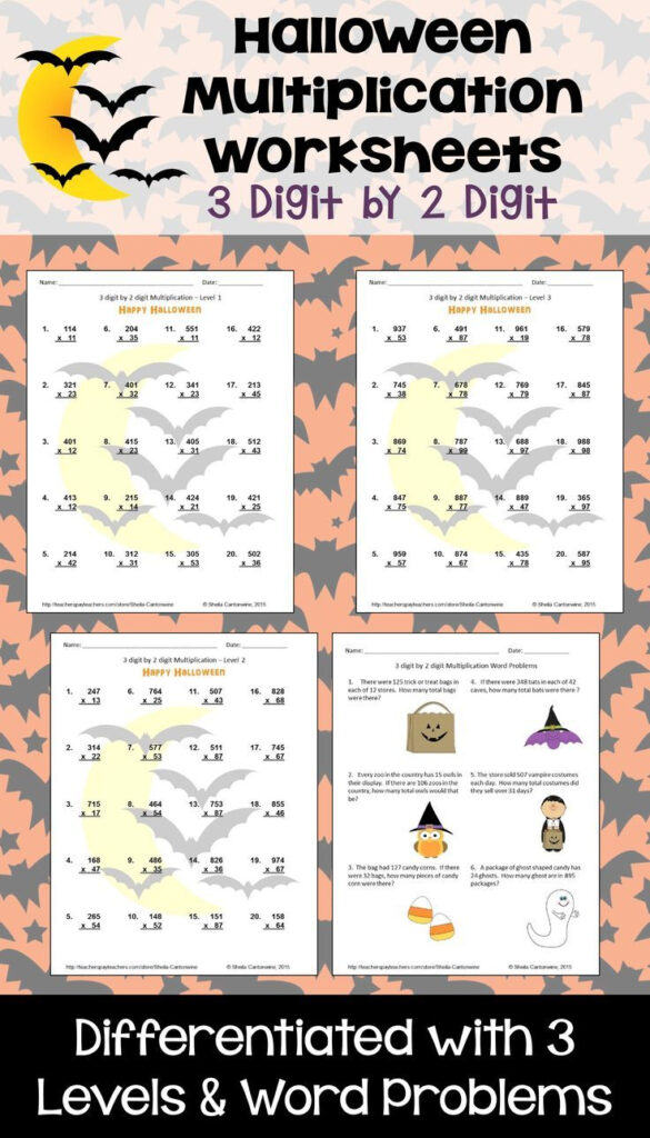Halloween Math 3 Digit2 Digit Multiplication | Digital