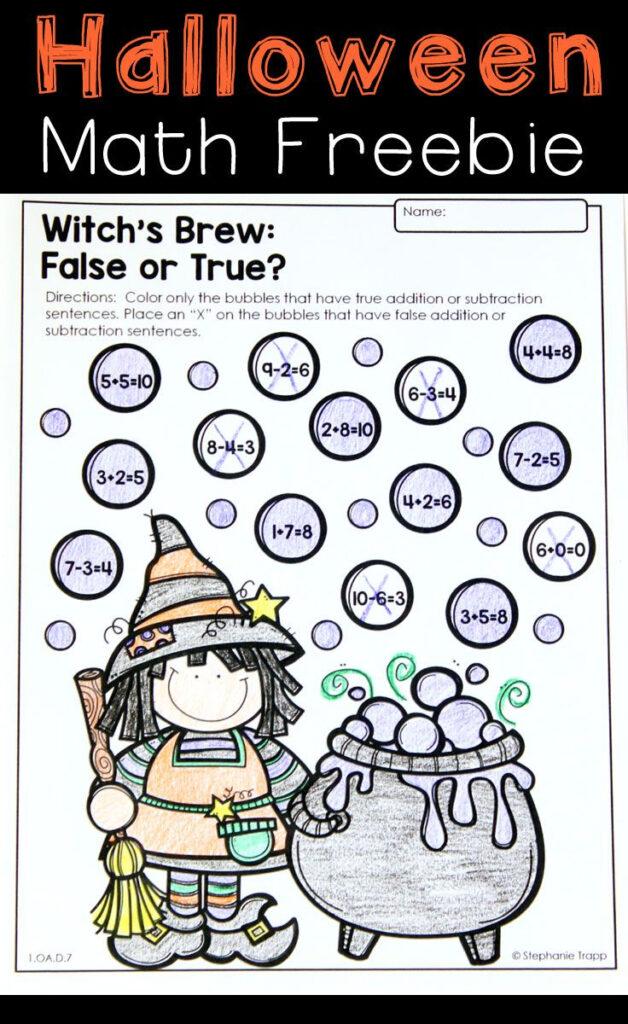 Halloween Math Activities Themed 2Nd Grade Worksheets Pre