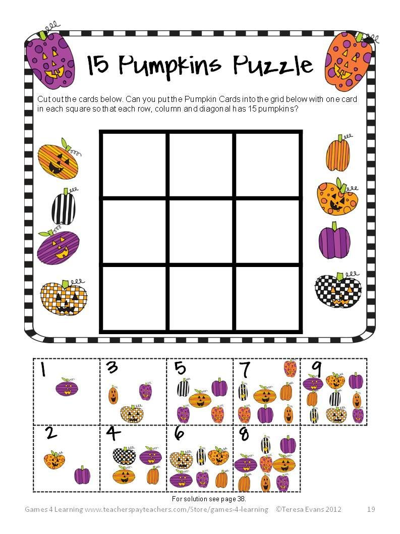 Halloween Math Activities - Worksheets, Games, Brain Teasers