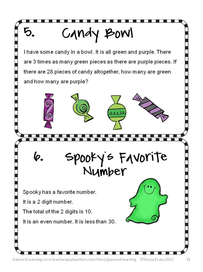 Halloween Math Activities - Worksheets, Games, Brain Teasers