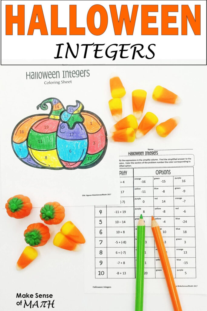 Halloween Math Activity Adding And Subtracting Integers