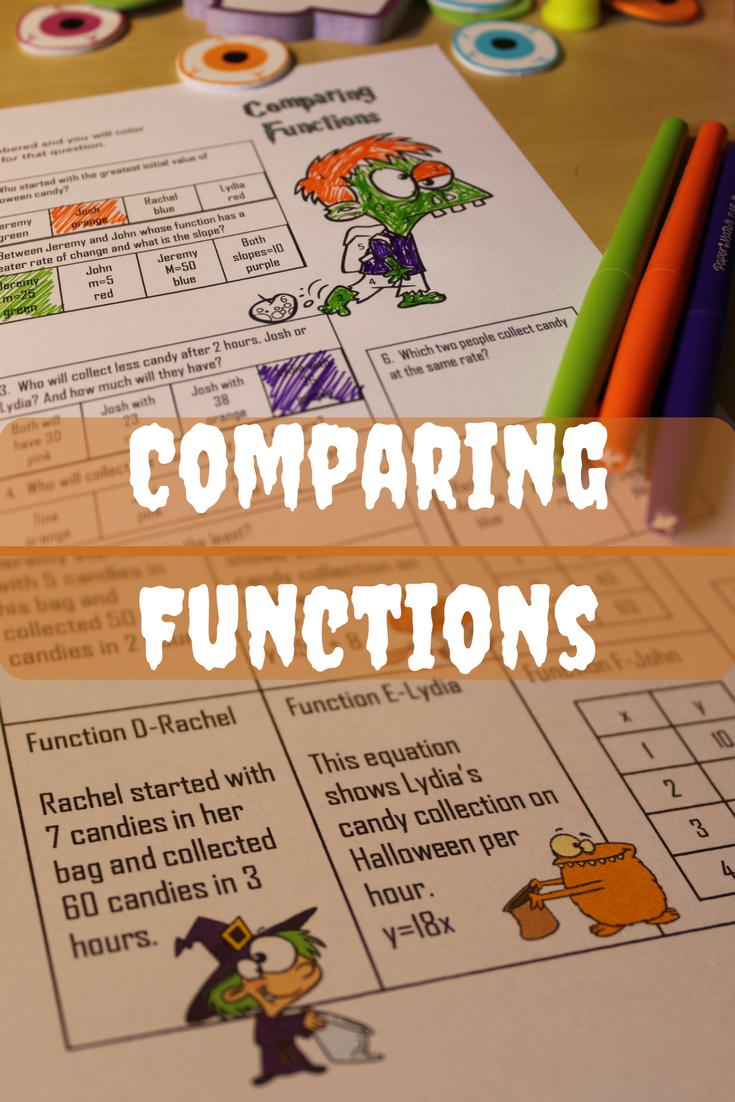 Halloween Math Activity- Comparing Functions | Math