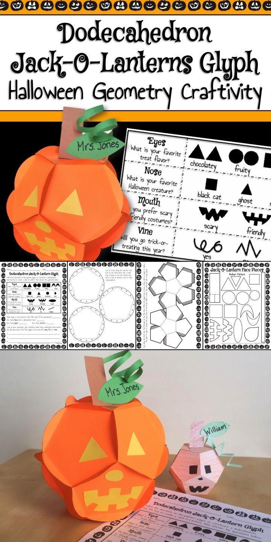 Halloween Math Activity Dodecahedron Jackolantern Glyph And