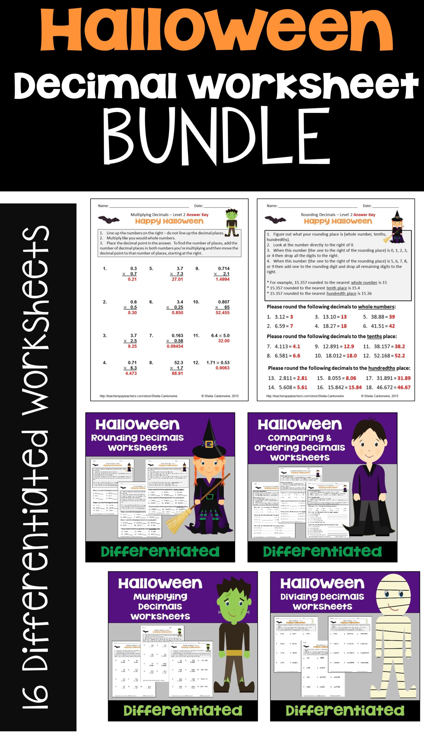Halloween Math Decimal Worksheet Bundle For Morning Work And