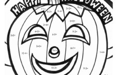 Halloween Math Fact Coloring Worksheets For Kindergarten