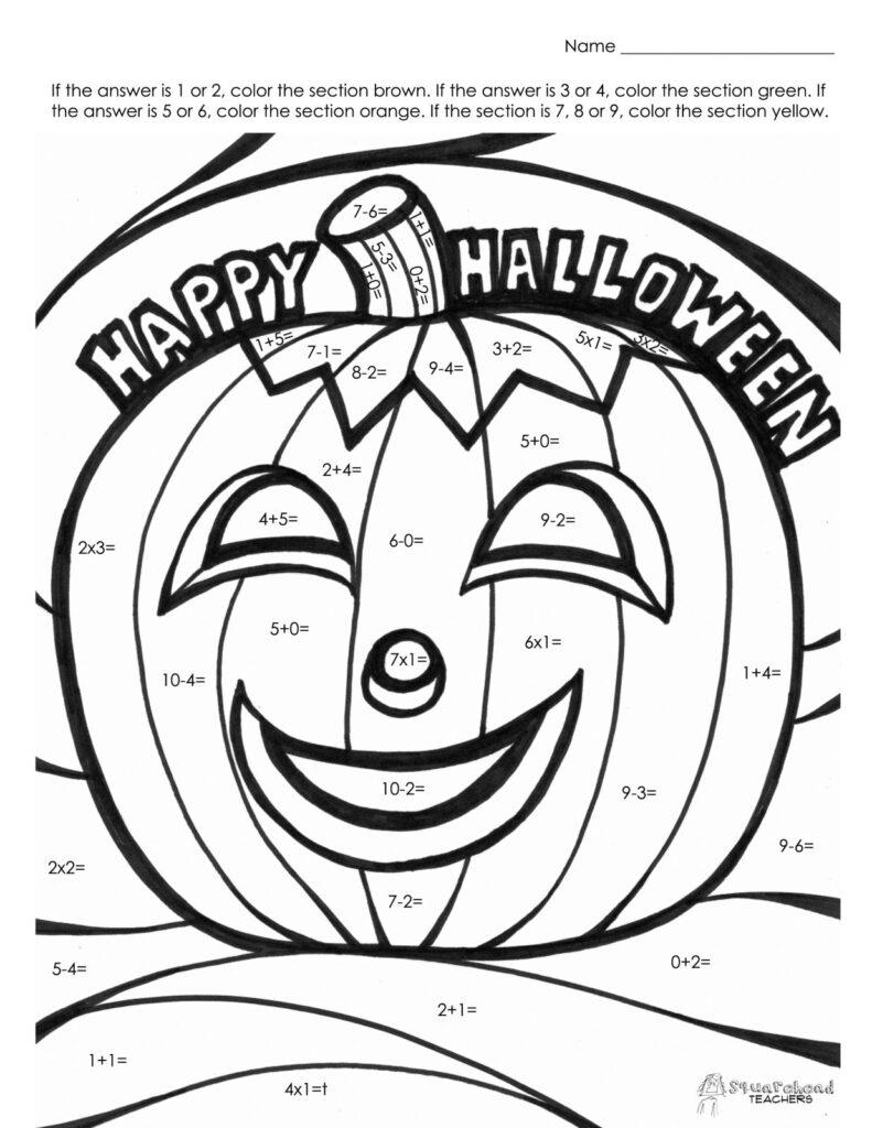 Halloween Math Fact Coloring Worksheets For Kindergarten