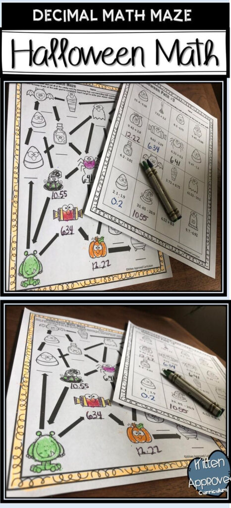 Halloween Math Maze For 5Th Grade. Students Add And Subtract