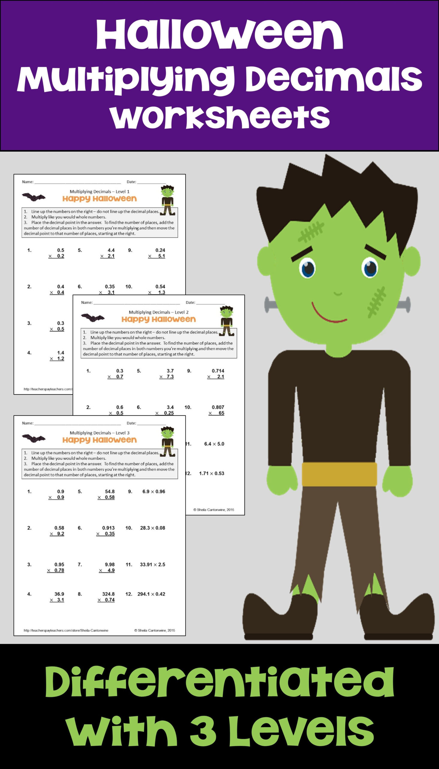 Halloween Math Multiplying Decimals With Printable And