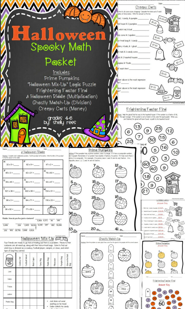 Halloween Math Packet For Grades 4 6! Fun Worksheets And