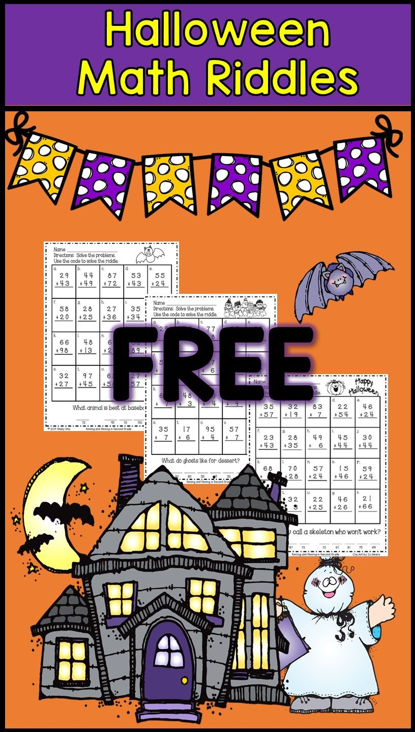 Halloween Math Riddles With 2-Digit Addition With Regrouping