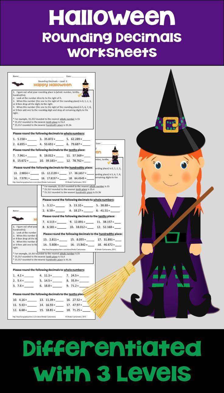 Halloween Math Rounding Decimals Worksheets Differentiated