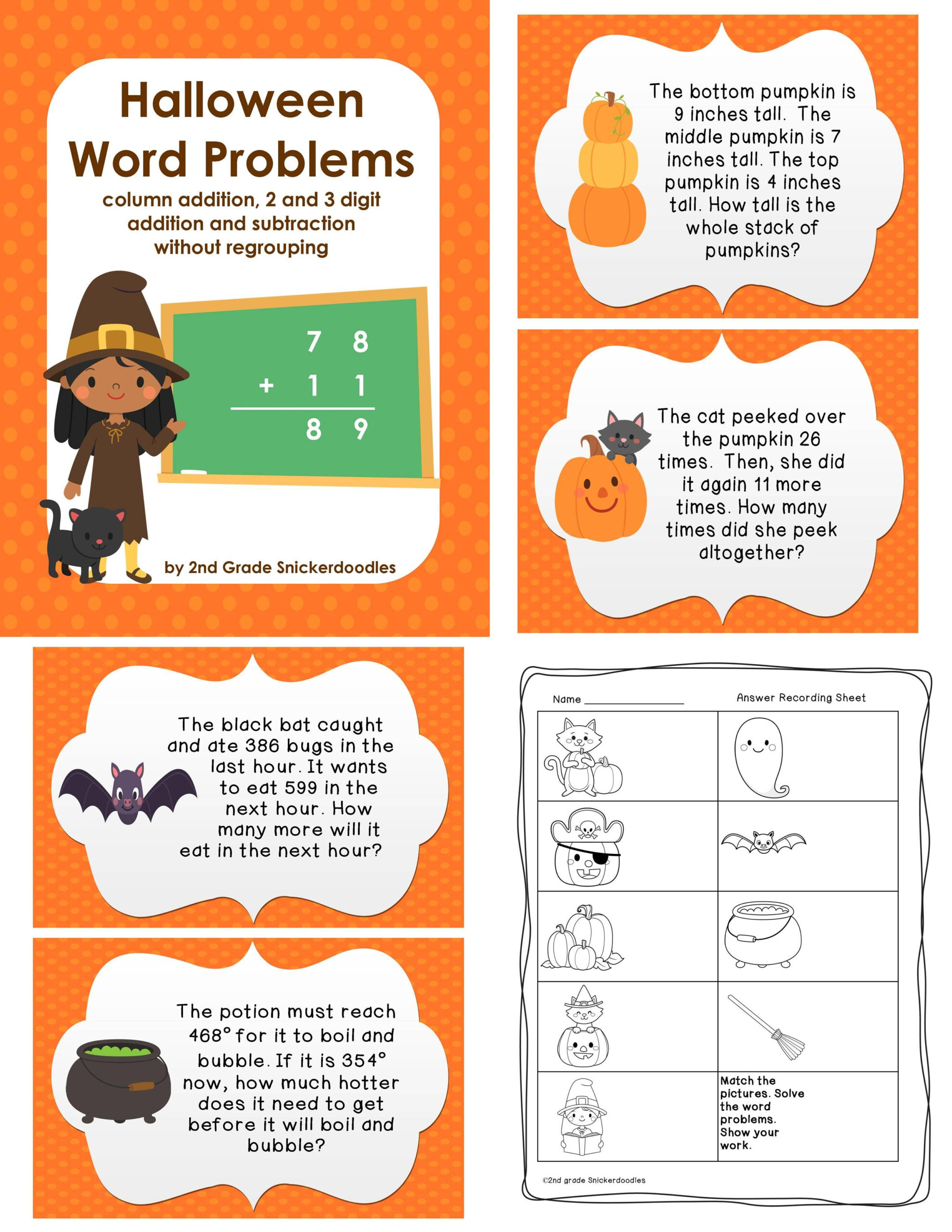 Halloween Math Word Problems Worksheets