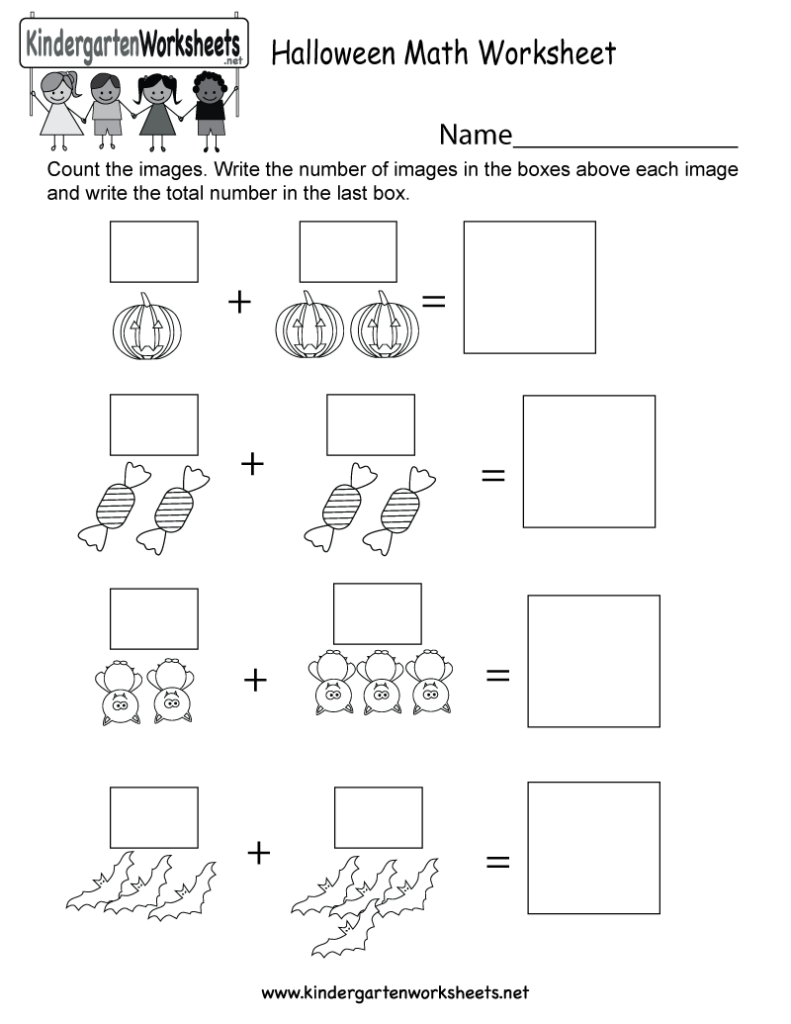Halloween Math Worksheet   Free Kindergarten Holiday