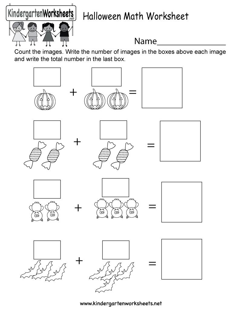 Halloween Math Worksheet - Free Kindergarten Holiday