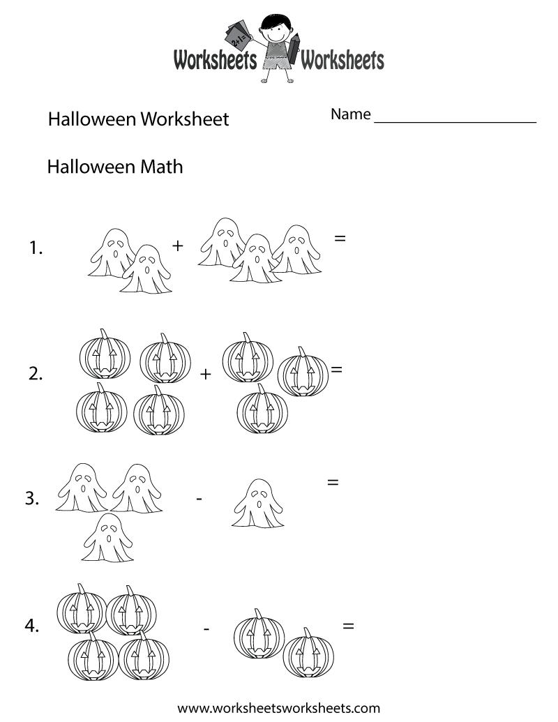 Halloween Math Worksheet - Free Printable Educational Worksheet