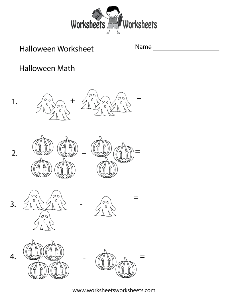 Halloween Math Worksheet - Free Printable Educational Worksheet