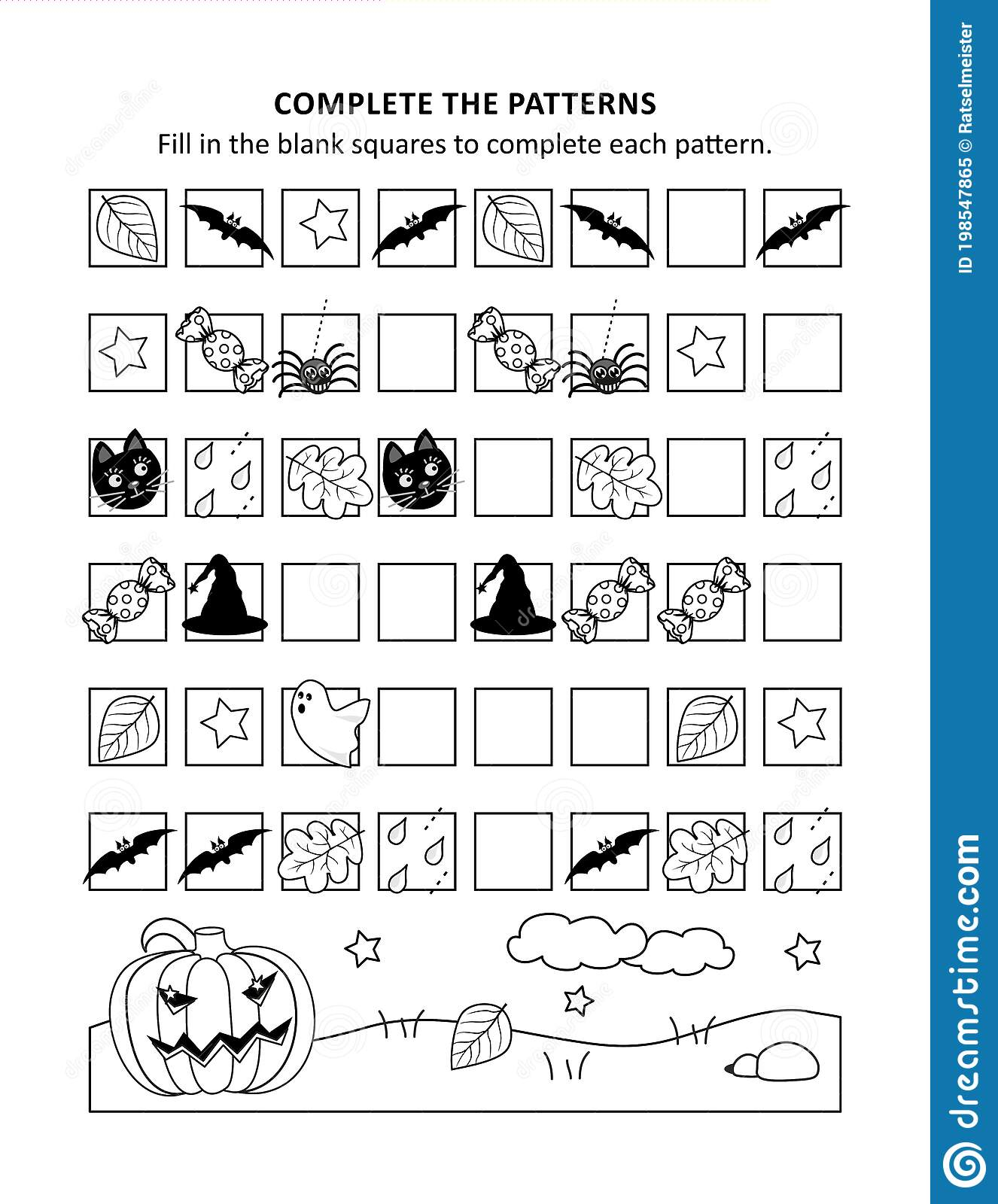Halloween Math Worksheet With Sequential Patterns Stock