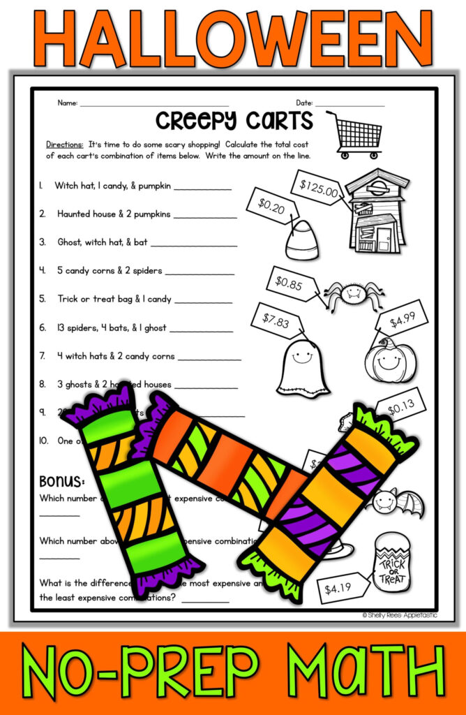 Halloween Math Worksheets Free Middle School Test Question