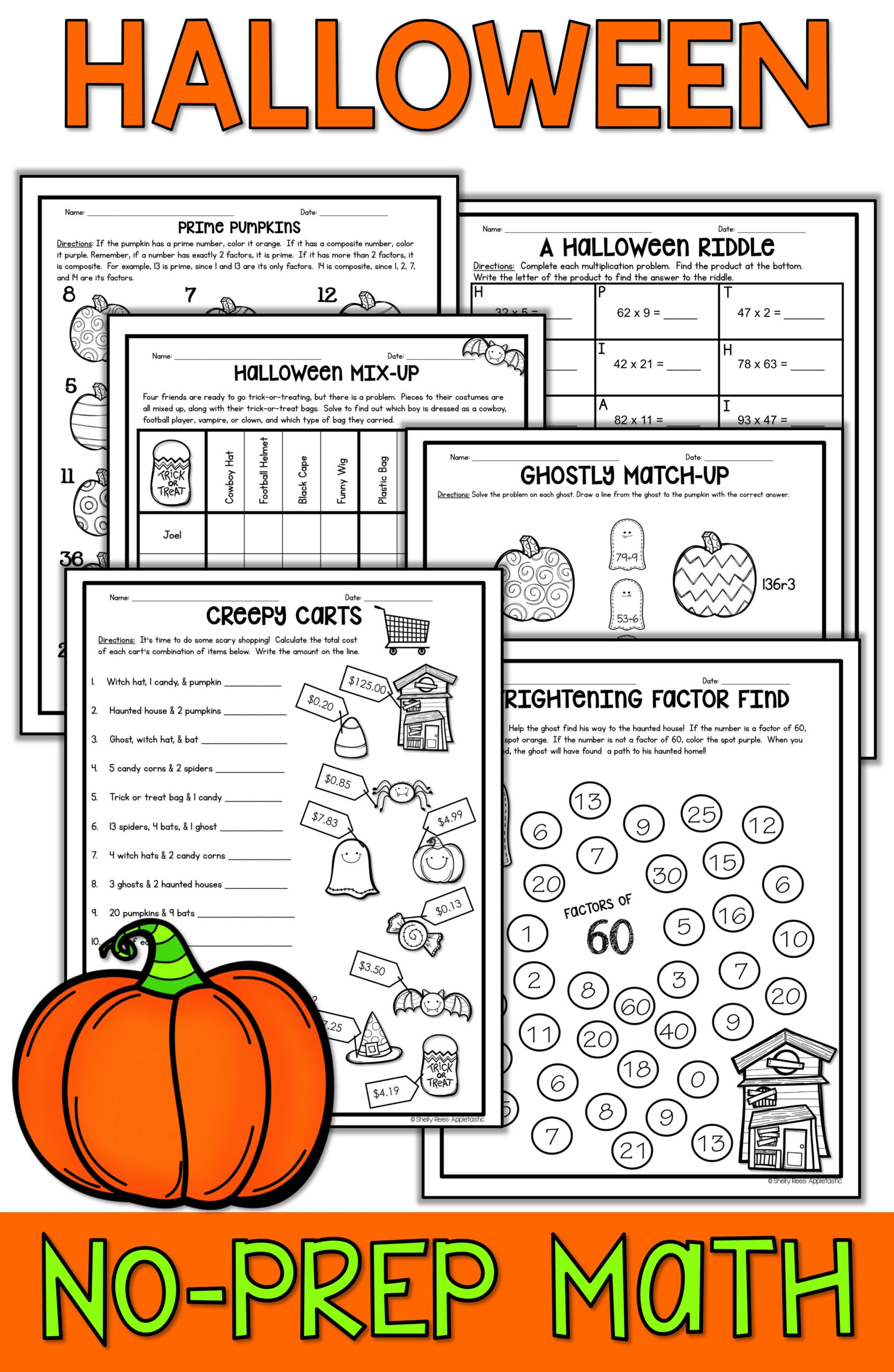 Halloween Math Worksheets | Math Worksheets, Math Packets