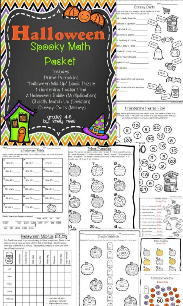 Halloween Math Worksheets Packets For Grade Equations With